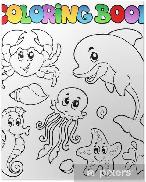 Boyama Kitabı çeşitli Deniz Hayvanları 2 Poster Pixers Haydi