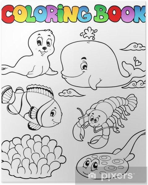 Boyama Kitabı çeşitli Deniz Hayvanları 3 Poster Pixers Haydi