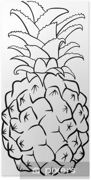 Boyama Kitabı Için Ananas Meyve Poster Pixers Haydi Dünyanızı