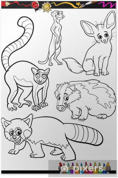 Boyama Kitabı Için Belirlenen Vahşi Hayvanlar Poster Pixers