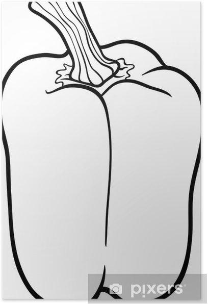 Boyama Kitabi Icin Biber Sebze Karikatur Poster Pixers Haydi