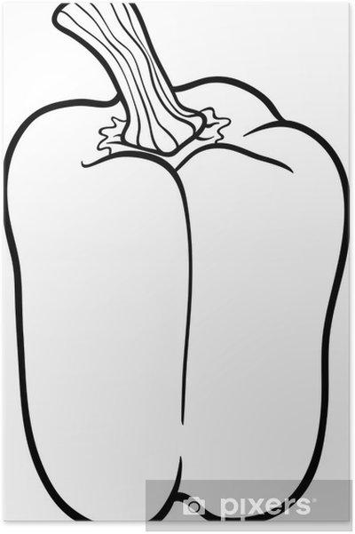 Boyama Kitabı Için Biber Sebze Karikatür Poster Pixers Haydi