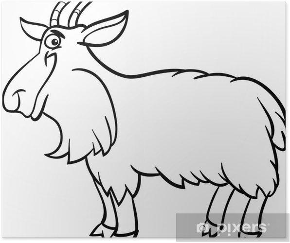 Boyama Kitabı Için çiftlik Keçi Karikatür Poster Pixers Haydi