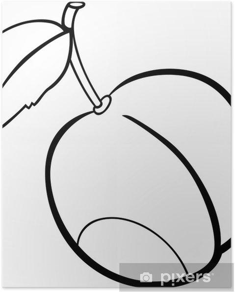 Boyama Kitabı Için Erik Meyve Illüstrasyon Poster Pixers Haydi