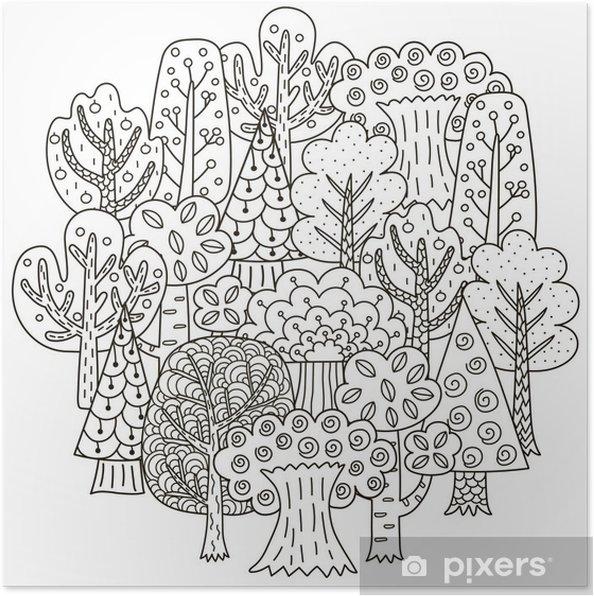 Boyama Kitabı Için Fantezi Ağaçları Ile Daire şeklinde Desen Poster
