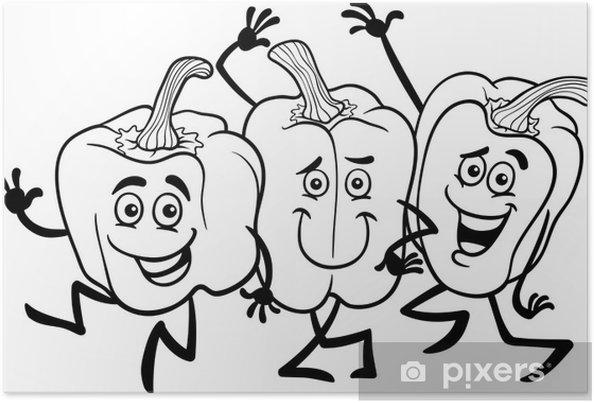 Boyama Kitabı Için Karikatür Biber Sebze Poster Pixers Haydi