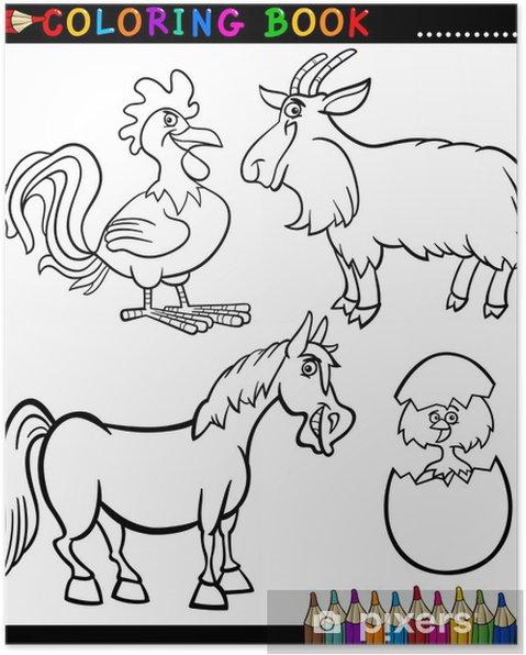 Boyama Kitabi Icin Karikatur Ciftlik Hayvanlari Poster Pixers