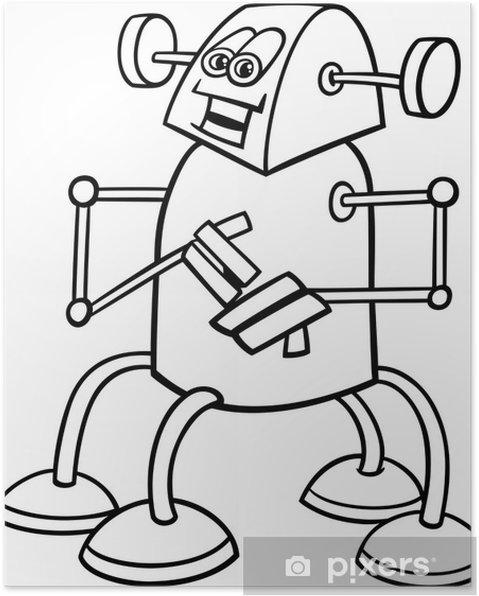 Boyama Kitabı Için Karikatür Robot Poster Pixers Haydi