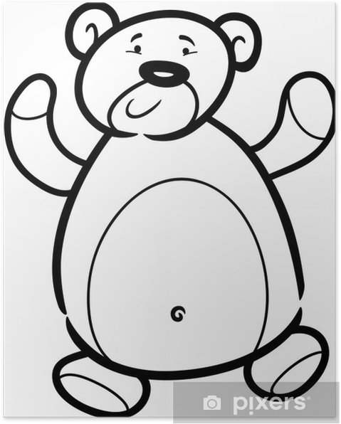 Boyama Kitabı Için Oyuncak Ayı Karikatür Poster Pixers Haydi