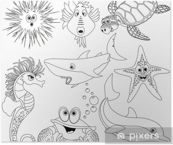 Poster Boyama Kitabı Vector Için Hayvanlar Mare Da Colorare Deniz Hayvanları