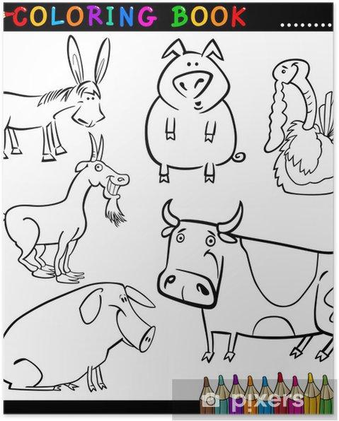 Boyama Kitabi Veya Page Ciftlik Hayvanlari Poster Pixers