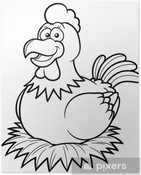 Boyama Kitabında Bir Yuva üzerinde Tavuk Vector Illustration