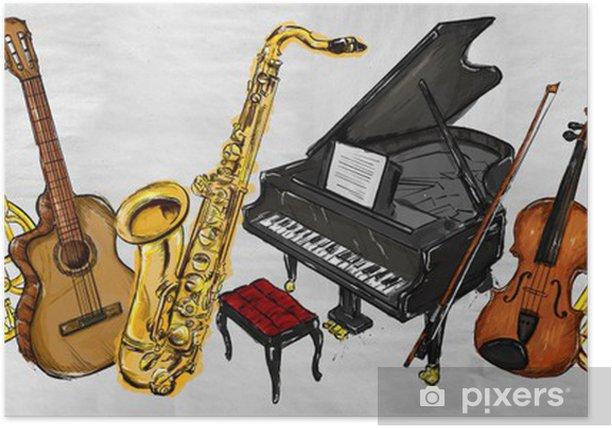 Boyama Muzik Aletleri Poster Pixers Haydi Dunyanizi Degistirelim