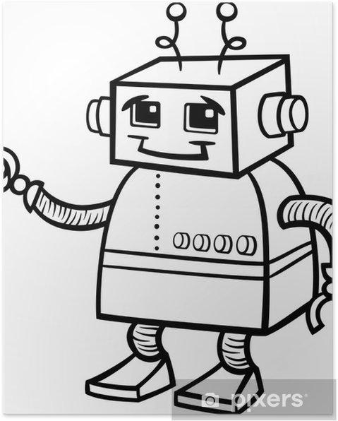 Boyama Robot Karikatür Illüstrasyon Poster Pixers Haydi