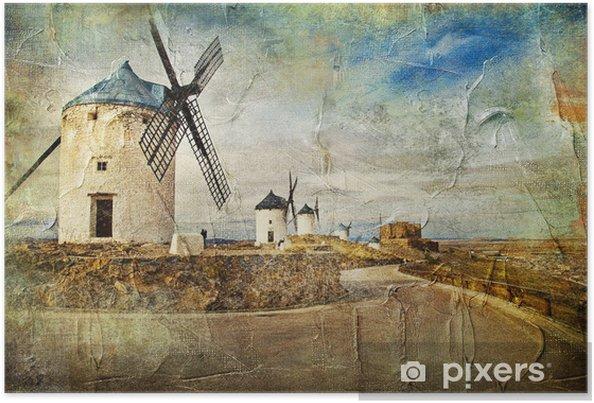 Boyama Tarzı Resim Ispanya Yel Değirmenleri Poster Pixers
