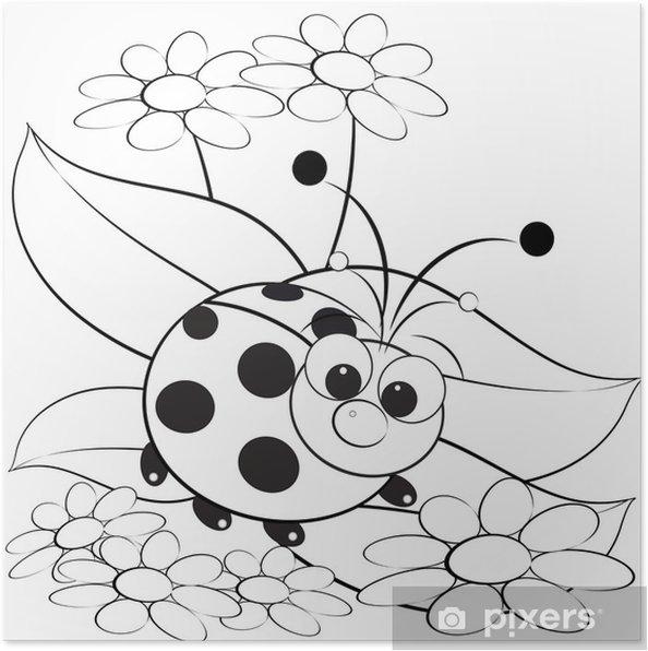 Boyama Uğur Böceği Ve Papatya Poster Pixers Haydi Dünyanızı
