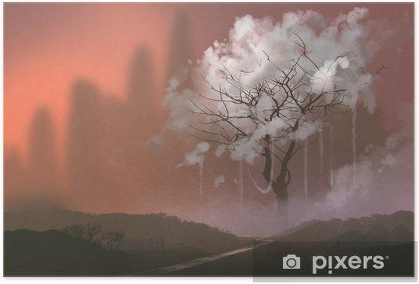 Bulut Agaci Illustrasyon Boyama Poster Pixers Haydi