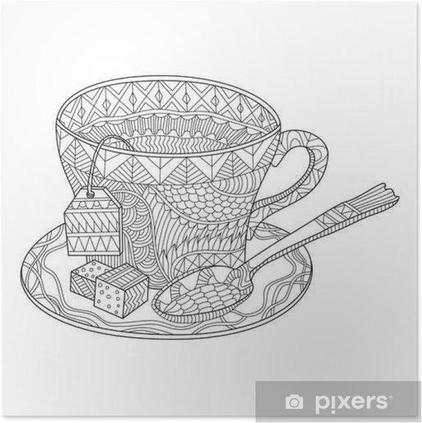 çay Bardağı Vektör Illüstrasyon Boyama Poster Pixers Haydi