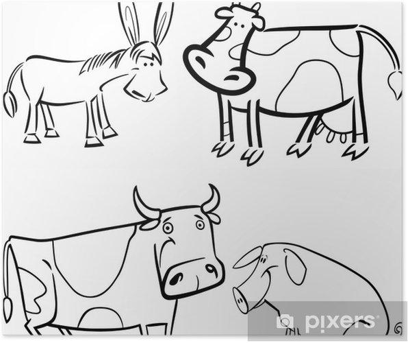 çiftlik Hayvanları Boyama Için Belirlenen Poster Pixers Haydi