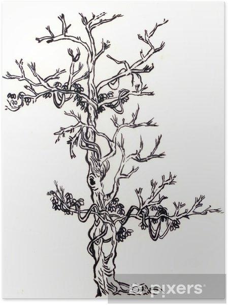 Poster çince Boyama Ağaç Ve Rattan