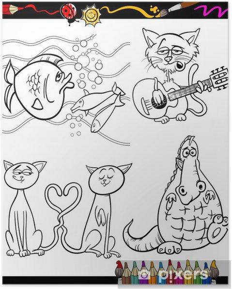 çizgi Film Karakterleri Boyama Kitabı Için Belirlenen Poster