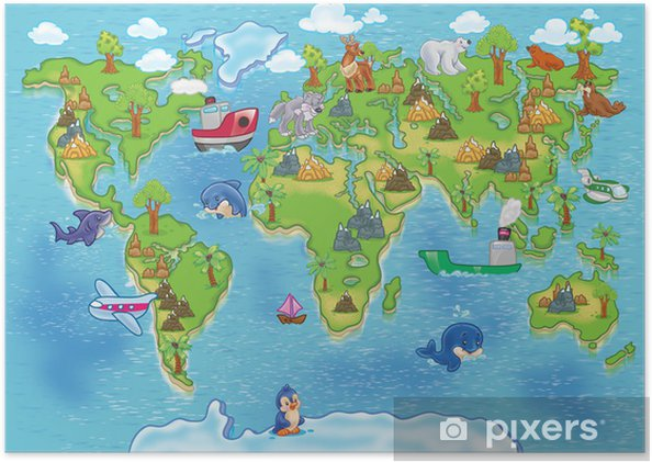çocuklar Dünya Haritası Poster Pixers Haydi Dünyanızı Değiştirelim