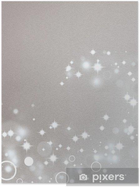 Daire ışık Efektleri Ve Parlak Yıldızlar Ile Gümüş Arka Plan Poster