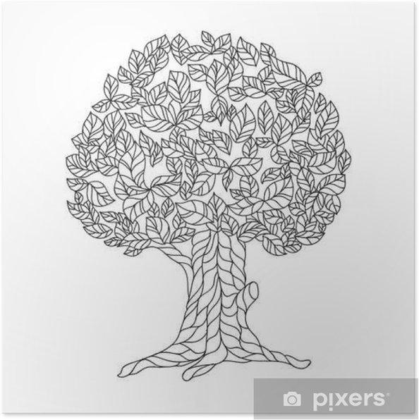 Dantel Ağacı Ile Boyama Kitabı Sayfa Poster Pixers Haydi
