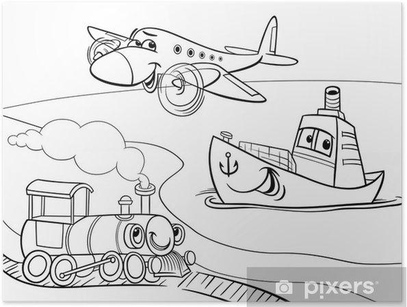 Düzlem Gemi Tren Karikatür Boyama Poster Pixers Haydi