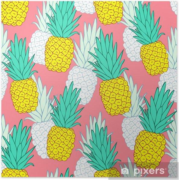 Egzotik Ananas Ile Tropik Sorunsuz Desen Kırmızı Arka Plan