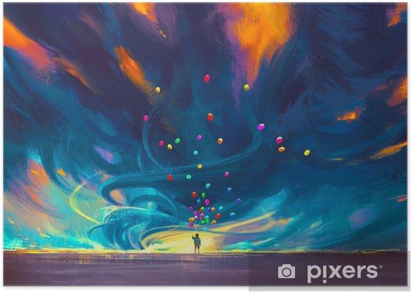 Fantezi Fırtına Illüstrasyon Boyama önünde Duran Balon Tutan çocuk