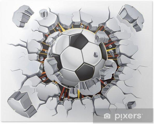 Poster Futbol topu ve Eski Alçı duvar hasarı. vektör çizim - Kullanim Alanlari