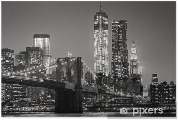 Poster Gece New York. Brooklyn Köprüsü, Aşağı Manhattan - Siyah bir -