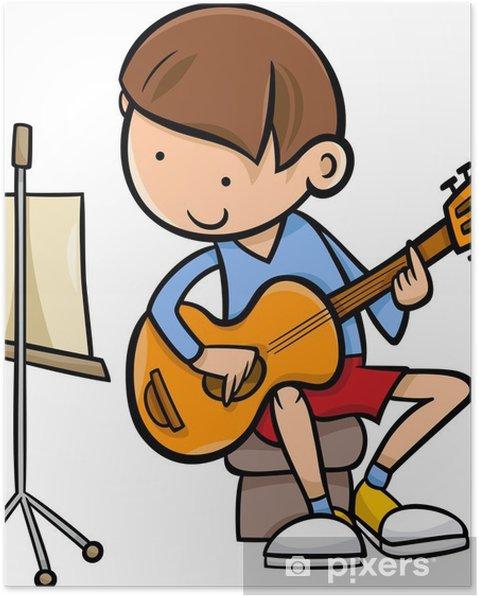 Gitar Karikatür Resme Oğlan Poster Pixers Haydi Dünyanızı
