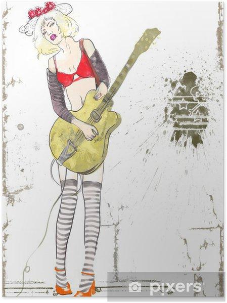 Gitarist Kız El çizimi Poster Pixers Haydi Dünyanızı Değiştirelim