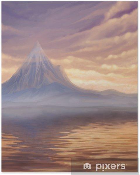 Poster Göl Ve Dağ Dijital Boyama Ile Gün Batımı Manzara