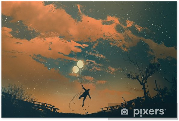 Poster Gün Batımı Illüstrasyon Boyama Balon ışıkları Ile Uçan Adam