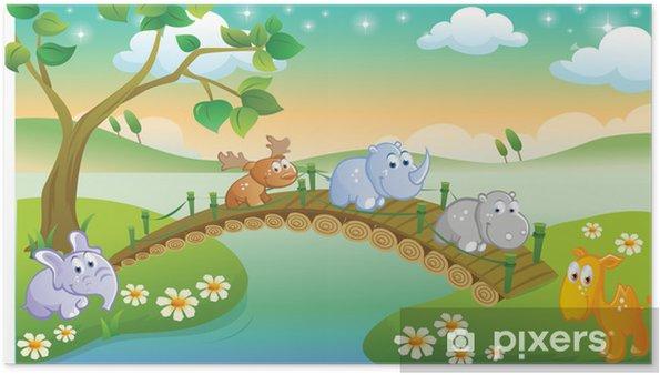 Güzel Sahne Ile Oynarken çizgi Film Genç Hayvanlar Poster Pixers