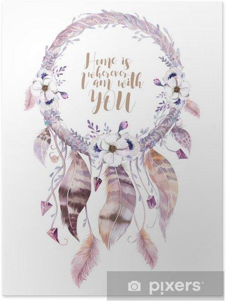 Poster İzole Suluboya dekorasyon bohem dreamcatcher. Boho feath - Çiçek ve bitkiler