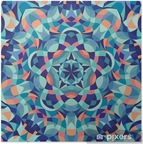 Poster Kaleidoscope geometrik renkli desen. Arka plan. vektör çizim - Grafik kaynakları