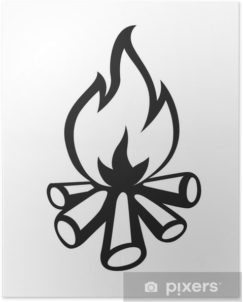 Kamp Ateşi Vektör çizim Beyaz Zemin üzerine Izole Poster Pixers