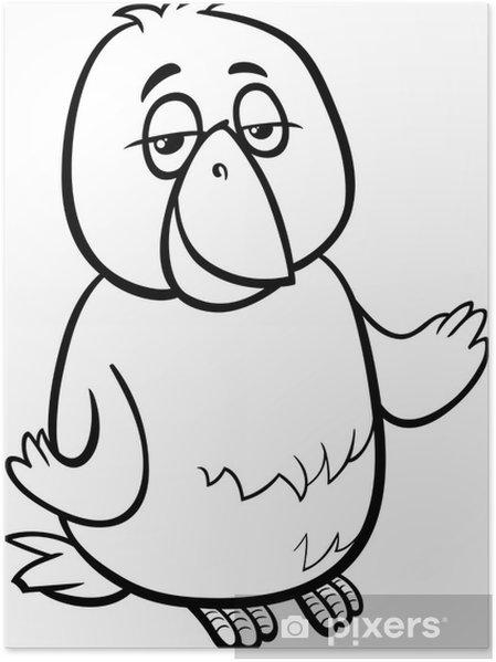 Kanarya Kuş Karikatür Boyama Poster Pixers Haydi Dünyanızı