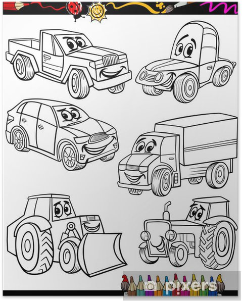 Karikatür Araçlar Boyama Kitabı Için Belirlenen Poster Pixers