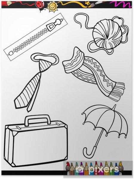 Poster Karikatür Boyama Nesneleri