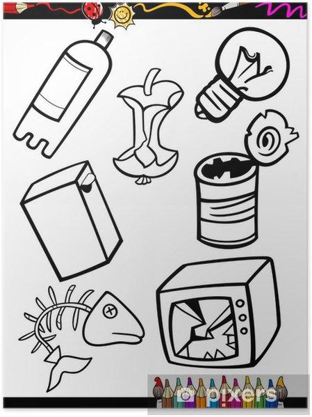 Poster Karikatür çöp Boyama Nesneleri