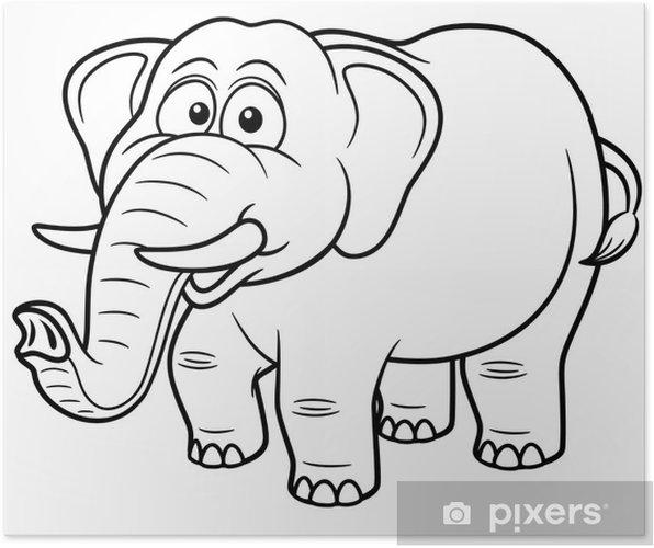 Karikatür Fil Vector Illustration Boyama Kitabı Poster Pixers