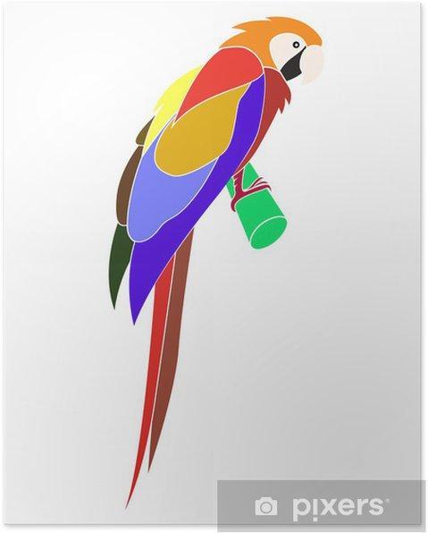 Karikatür Hayvan Papağan Düz Boyama Tarzı Poster Pixers