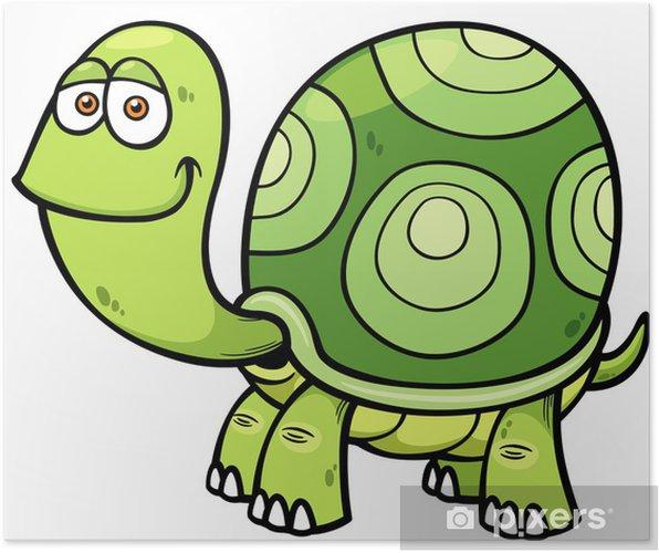 Karikatür Kaplumbağa Vektör çizim Poster Pixers Haydi Dünyanızı
