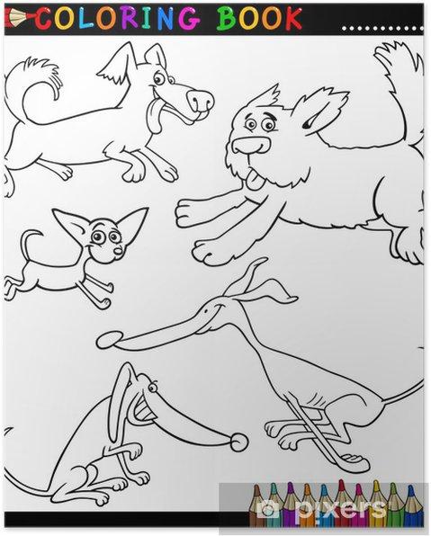Karikatür Köpekler Ya Da Boyama Kitabı Için Puppies Poster Pixers