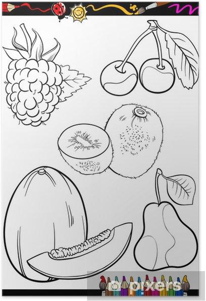 Karikatur Meyve Boyama Kitabi Icin Belirlenen Poster Pixers